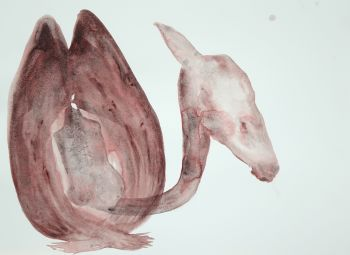 Head wings with listening creature (Shetland). Watercolour