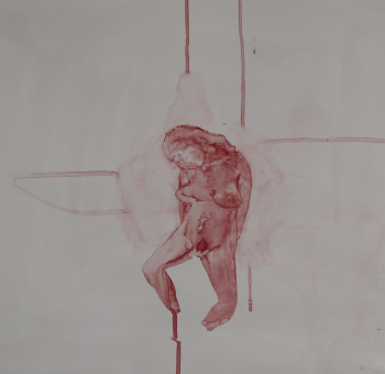 Figure exposed.Watercolour on gesso, 52 x 53 cm, July 08.