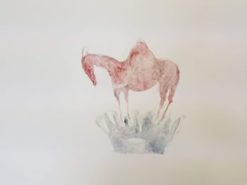 Horse with Sea Crown watercolour